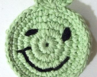 Crochet green smile magnet