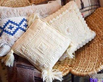 Vintage crochet pillow with tassels...finely woven pillow...small accent pillow...boho pillow...
