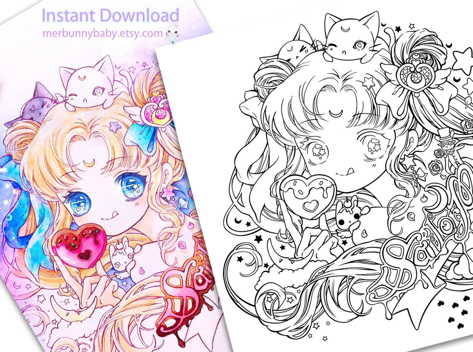 Süße Sailor Moon Malvorlagen süße Anime Manga Mädchen