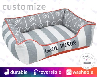 Grey & Orange Personalised Dog Bed or Cat Bed | Stripe, Arrow, Designer - Small, Medium, Large Bolster Pet Bed