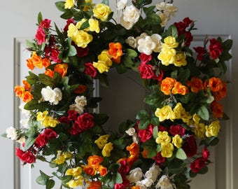 Roses wreath, Fall Wreath, Front Door Wreath, Cottage Chic Wreath, Large Wreath 24in
