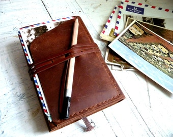 Travel journal cover. Pocket moleskine cover. Small moleskine leather case. Travel accessories. Notebook cover. Moleskine organizer