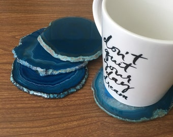 CORK BACKED Agate Coasters, Blue Agate Coasters, Natural Agate, Coasters Agate, Stone Coaster,