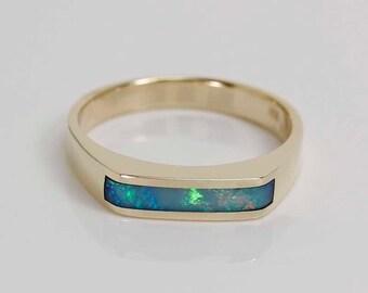 Mens opal inlay ring