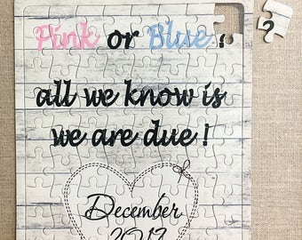 Pregnancy Announcement Personalised Jigsaw baby boy, baby girl, Gift Puzzle W301