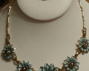 Blue Flower Choker, Painted Metal, Gold Filled Brooch, Vintage, Feminine, Art Deco, Gold Tone, Set