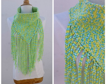 Neon fringed cowl, cotton fringed cowl, knit neon cowl, knit cotton cowl, fringed cowl, festival cowl, rave cowl, neon rave scarf, bandana