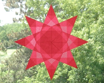 Red Window Star with Square Pattern on 8 Intricately Folded Points