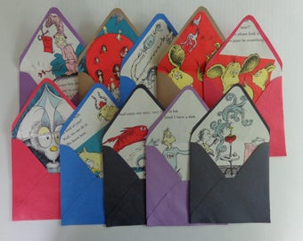 "Set of 8 Handmade Envelopes Lined With Vintage Dr. Seuss Book Pages. Also 8 Note Cards. Cards are 5.75"" square"