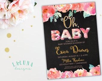 Floral Baby Shower Invitation, Chalkboard Baby Shower Invitation, Girl Baby Shower, Watercolor Invitation, Watercolor Flowers, DIY Printable