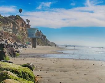 Tower 19, Ocean, Beach, Sand, Cliffs, Palm Trees, Lifeguard Tower, Cardiff, San Diego, California