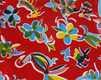 Red 46 x 84 Oilcloth Tablecloth - Birds and Flowers