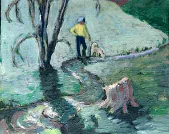 "ORIGINAL PAINTING - 9X12 Acrylic - ""First Spring""- Landscape ,Man and Dog, nature,outdoors,creek,room decor,wall art,by Patty Fleckenstein"