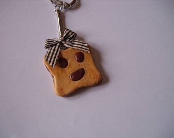 fimo chocolate biscuit cookie keychain