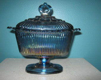 Blue Carnival Glass Covered Candy Dish, Footed Rectangle Dish, Scalloped Lacey Rim, Ribbed Sides, Small Chip Under The Lacey Rim,