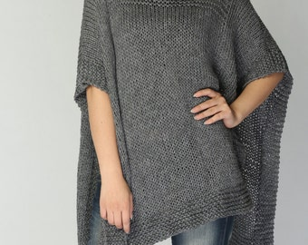 Hand knitted Poncho/ capelet in Charcoal eco cotton poncho - ready to ship