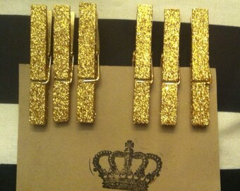 Glittered Clothes Pins-Gold Glittered Clothes Pins-Large-Party Prop-Wedding Clothes Pins-6 glittered clothes pins