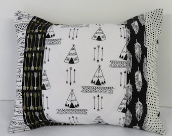 Black White Tribal Aztec Fabrics - Patchwork Pillow Cover - Baby Toddler Nursery Decor Baby Crib Bedding - Travel - 12 in x 16 in