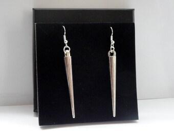 Spike earrings, Silver spike earrings, Long spike earrings, Rock chic earrings