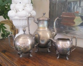 Antique Coffee Set Reed and Barton Silver Plate Coffee Pot Sugar Creamer Wabi Sabi Beautifully Imperfect