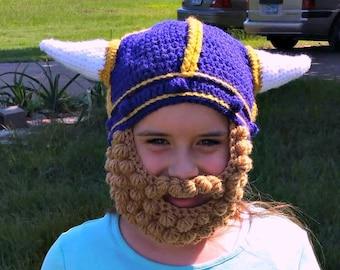 Chapeau de MN Vikings avec barbe, chapeau de viking, avec des tresses, chapeau au crochet viking avec tresses, casque viking, chapeau de Vikings du Minnesota, costume de Viking