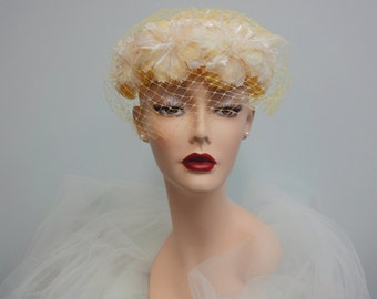 Vintage 1960s Canary Yellow Veiled Hat Cage Head Piece White Carnations