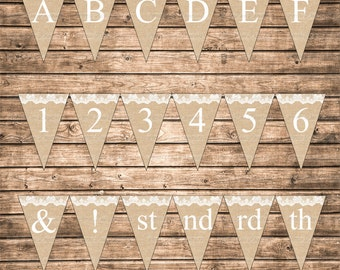 DIY Instant Download Burlap and Lace Printable Alphabet Letters Numbers Abbreviation Punctuation Marks Banner  Bunting Pennant Sign