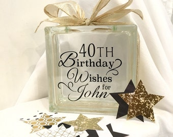 40th Birthday Wish Block - Wish Jar - Black and Gold Themed or choose your colors! Unique Guest Book for a Birthday Party