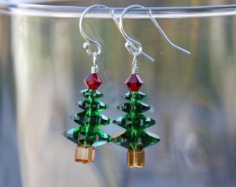 Forest green crystal Christmas tree earrings - sterling silver hooks - Dark moss green and Siam red Swarovski crystal - free shipping USA