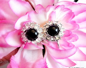 Black Cabochan Clear Rhinestone Clip On Earrings Vintage Earrings Black and Silver Tone Earrings Rhinestone Earrings 1980 Earrings