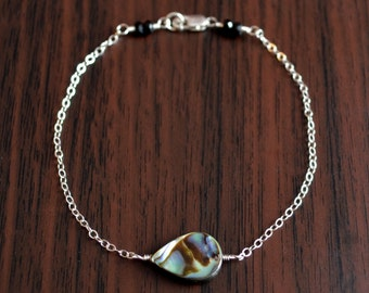 Simple Abalone Bracelet, Sterling Silver, Paua Shell, Dainty, Delicate, Summer, Beach Jewelry, Free Shipping