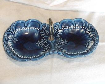 Vintage Blue Handled Dish