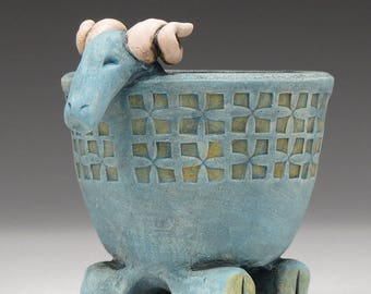 Ram Bowl,Aries or Capricorn Bowl, Goat bowl, Small ceramic vessel, hand made, patina finish, one of a kind