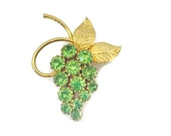 Vintage Bright Green Rhinestone Grape Brooch