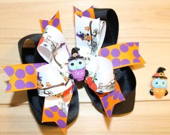 Noeud de cheveux Halloween hibou, violet, Orange
