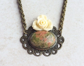 Unakite Stone Pendant Necklace,  Cabochon Flower Statement Necklace, Healing Energy Crystal Necklace