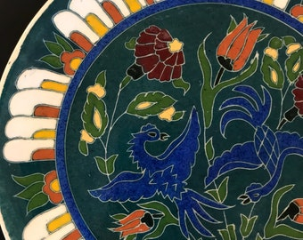 Vintage Turkish Plate Hand Painted Blue Birds and Flowers Special Handmade Turkey Wall Display Decor Plate