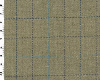 Beige/Blue Linen Twill Plaid Home Decorating Fabric, Fabric By The Yard