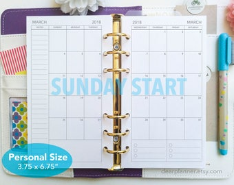 PRINTED Month on 2 pages - Mo2p calendar format - SUNDAY start - Dated thru December 2019 monthly planner - Personal size insert- P22