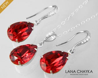 Red Crystal Jewelry Set Swarovski Scarlet Red Earrings&Necklace Set Bright Red Silver Teardrop Jewelry Set Bridesmaid Bridal Red Jewelry Set