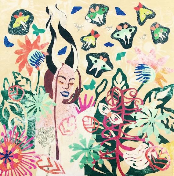 Art Painting Folk Art Satyr Woman Collage Illustration Luna Moth Green Violet Collage Paper Art Tropical