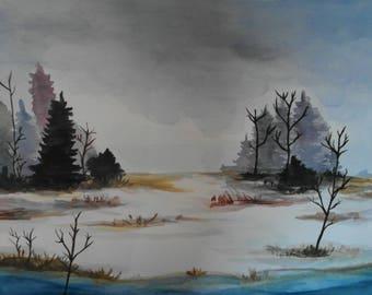 Winter landscape-21 x 29.7 cm/8.2 x 11.7-Handmade Original watercolor-watercolour-painting-art landscape-gift-A4 size