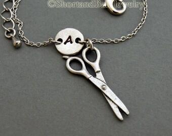 Scissors charm bracelet, antique silver, initial bracelet, friendship, mothers, adjustable, monogram