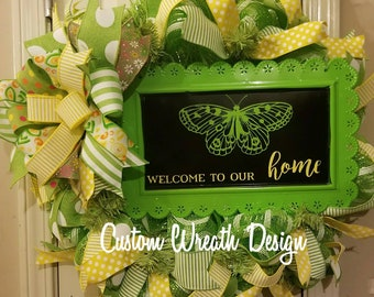 Butterfly Wreath, Welcome to Our Home Wreath, Spring Wreath, Best Door Wreath