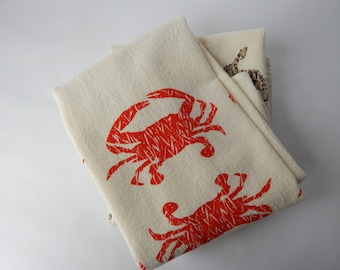 Kitchen Towel, Hand Printed, Crabs, Cotton