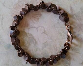 Tiny Antiqued Copper Penny Shaped Charm Bracelet