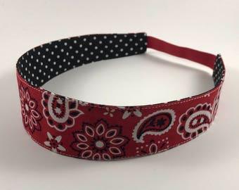 Red Paisley Handmade Fabric Headband, Adult Headband Woman, Womens Headband, Reversible Fabric Headband For Women,