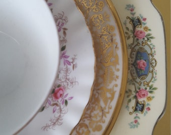 Mismatched China 4 pcs Place Setting For Wedding, Dinner Parties, Bridal Shower, Brunch, Luncheon, Tea Party, Collectable, Replacement,