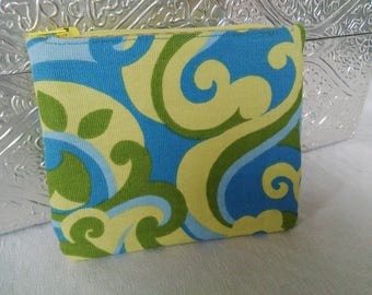 Floral Yellow Green and Blue Small Zippie Pouch