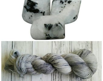 Hand Dyed Yarn, Merino, Nylon, Stellina, Sparkle, Perfect for Special Socks, Shawls and Lightweight Accessories - Moonstone